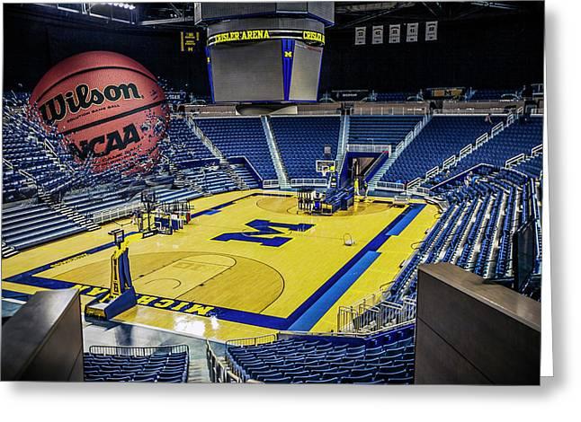Greeting Card featuring the digital art University Of Michigan Basketball by Nicholas Grunas