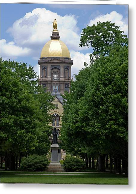 University Of Notre Dame Golden Dome Greeting Card by Sally Weigand