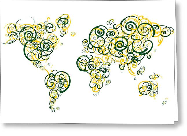 University Of Oregon Colors Swirl Map Of The World Atlas Greeting Card