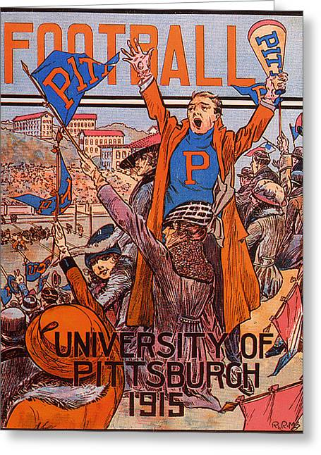 University Of Pittsburgh  Football Program 1915 Greeting Card by Mountain Dreams