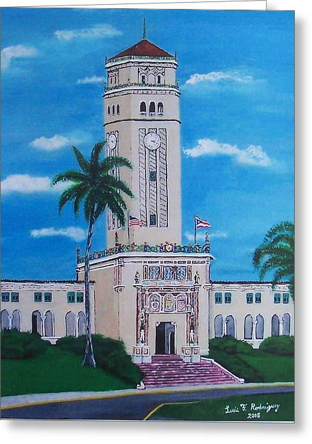 University Of Puerto Rico Tower Greeting Card by Luis F Rodriguez