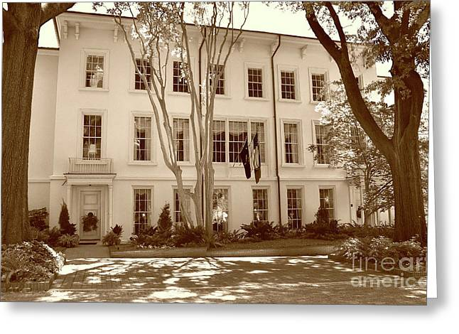 University Of South Carolina President's Residence In Sepia Tones Greeting Card by Skip Willits