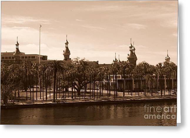 University Of Tampa With River - Sepia Greeting Card by Carol Groenen