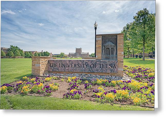 University Of Tulsa Mcfarlin Library Greeting Card by Roberta Peake