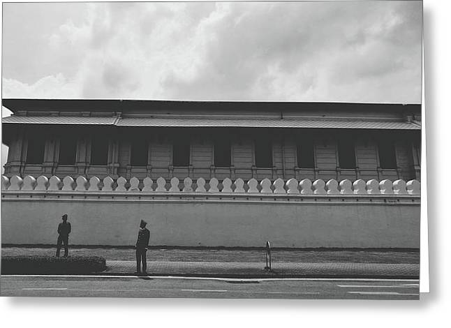 Unknown Men Standing With Long Building Behind Traditional Style Wall  Greeting Card by Sirikorn Techatraibhop