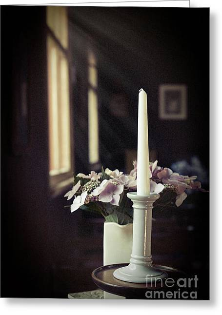 Unlit Candle In Old Church Greeting Card by Amanda Elwell