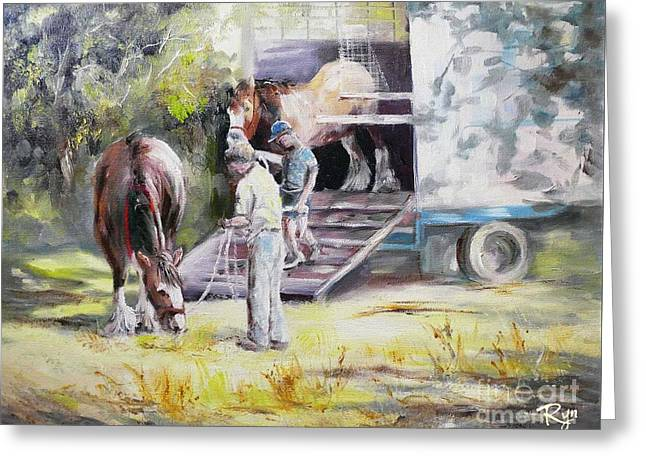 Unloading The Clydesdales Greeting Card