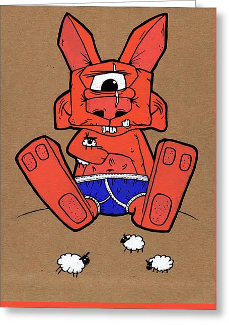 Uno The Cyclops Bunny Greeting Card by Bizarre Bunny
