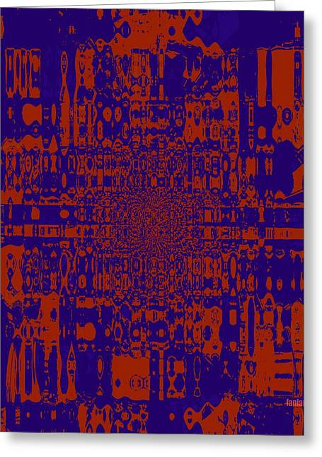 Unseen Violence - Red And Blue Greeting Card by Fania Simon