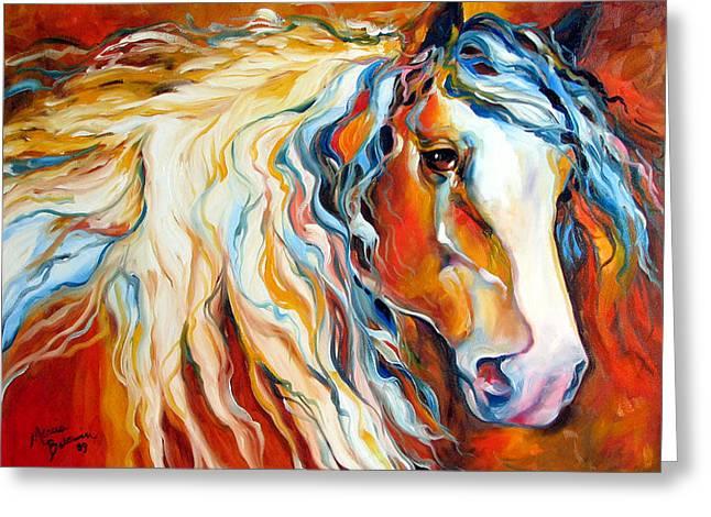 Untamed Spirit Equine Original By M Baldwin Greeting Card