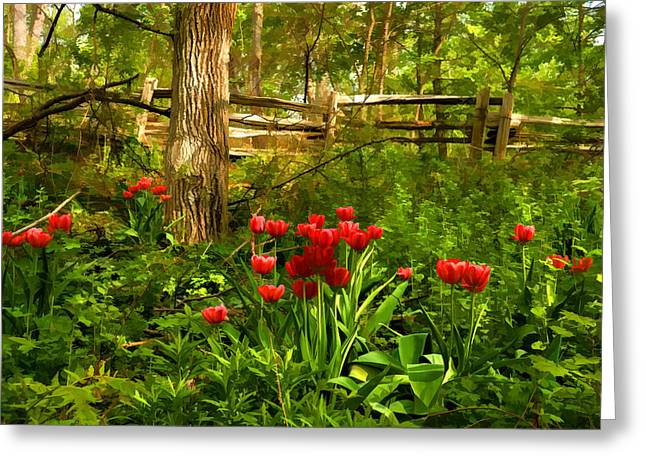 Untamed Tulip Forest - Impressions Of Spring Greeting Card by Georgia Mizuleva