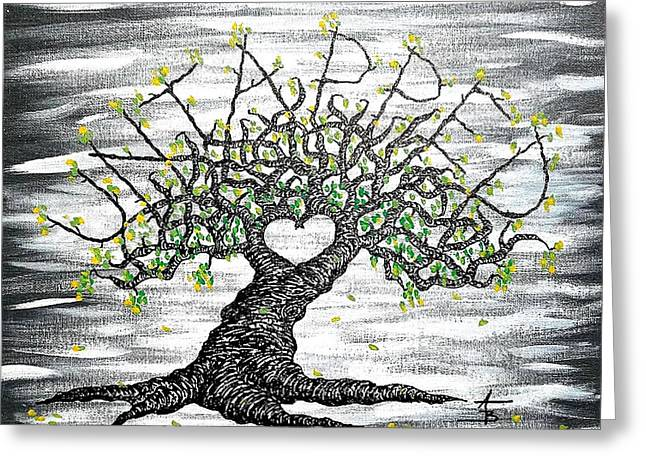 Greeting Card featuring the drawing Untapped Love Tree by Aaron Bombalicki