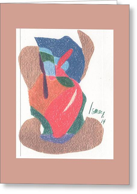 Greeting Card featuring the drawing Untitled Abstract by Rod Ismay