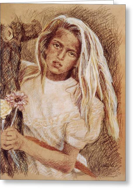 Leaning Pastels Greeting Cards - Untitled Girl Greeting Card by Kathryn Donatelli