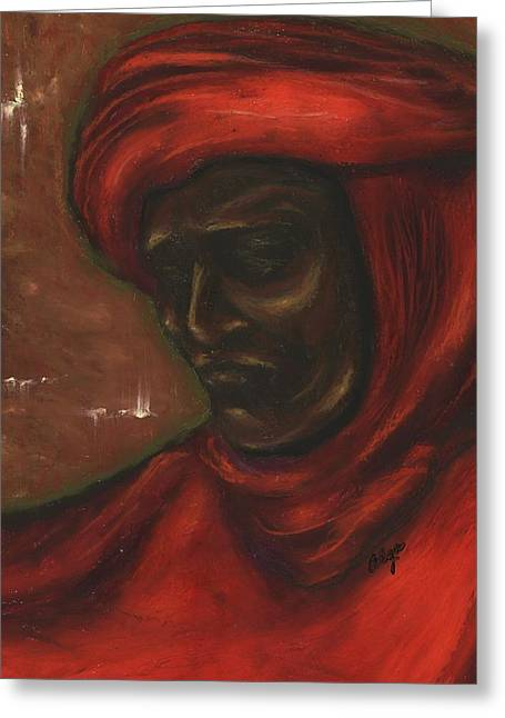 African-american Pastels Greeting Cards - Untitled Man Greeting Card by Alga Washington