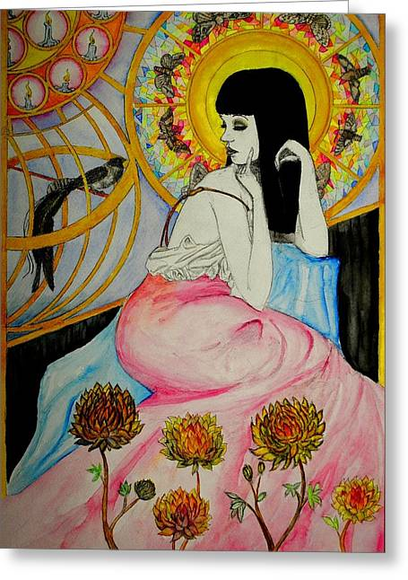 Greeting Card featuring the painting Untitled Muse 1 by Josean Rivera