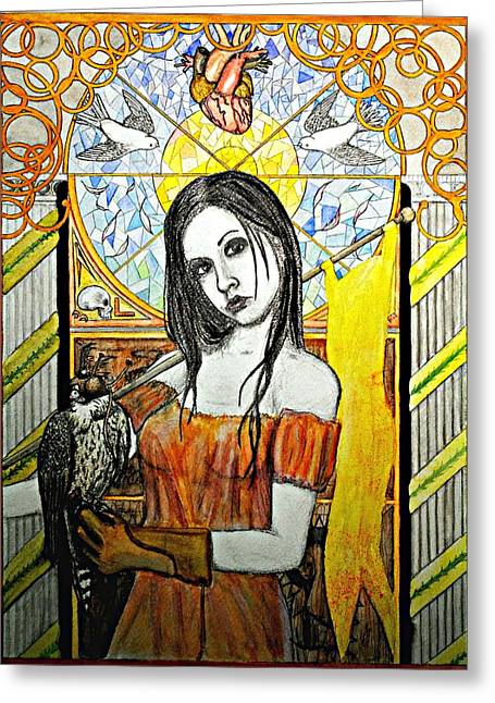 Greeting Card featuring the painting Untitled Muse 2 by Josean Rivera