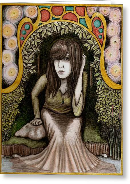Greeting Card featuring the painting Untitled Muse 3 by Josean Rivera