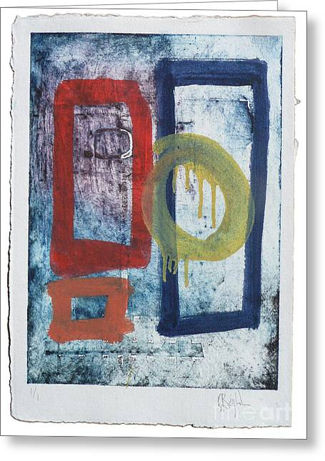 Untitled Reworked Collagraph 2 Greeting Card by Timothy Beighton