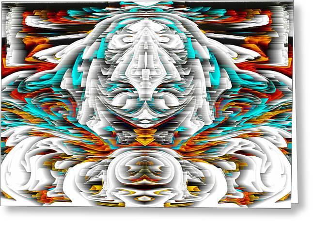 Greeting Card featuring the digital art 992.042212mirrorornategoldvert-2-c by Kris Haas