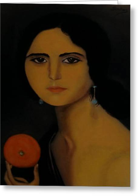 Untitled Woman With Orange Greeting Card