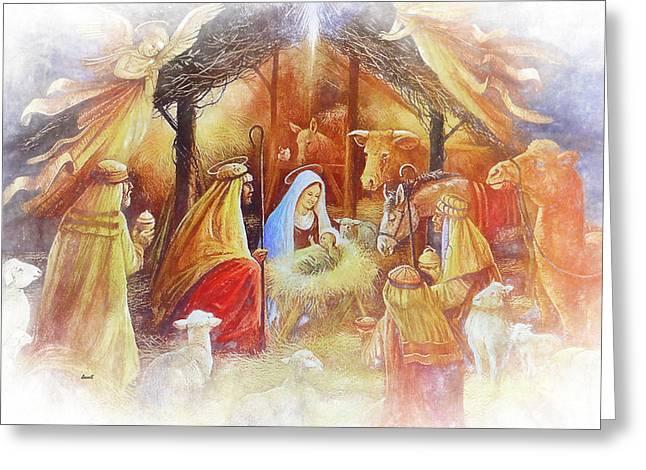 Unto Us A Savior Is Born Greeting Card