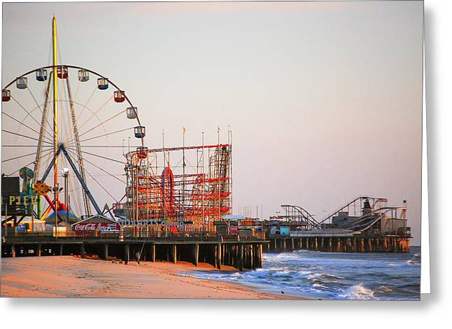 Funtown And Casino Amusement Pier In Seaside Park And Seaside Heights Nj Greeting Card by Bob Cuthbert