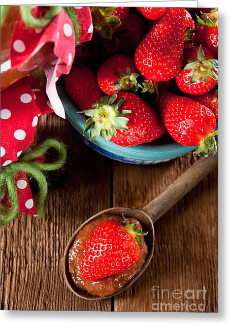 Untreated Jam With Homegrown Strawberries Greeting Card by Wolfgang Steiner