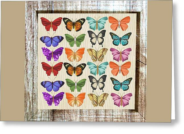 Unusual Colourful Butterfly Collage Greeting Card