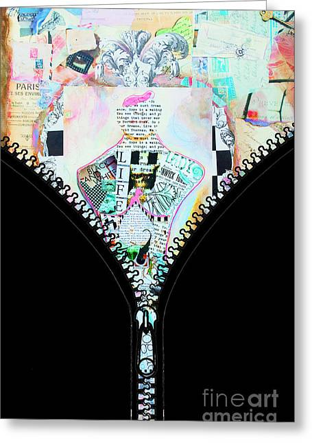Unzipped Original Woman Greeting Card by WALL ART and HOME DECOR