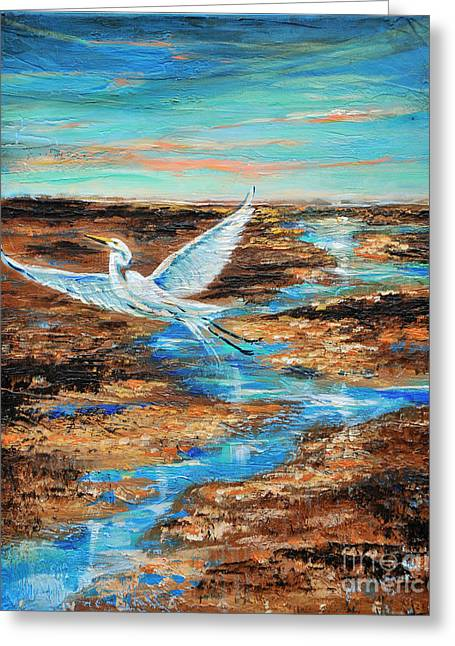 Greeting Card featuring the painting Up And Away by Linda Olsen