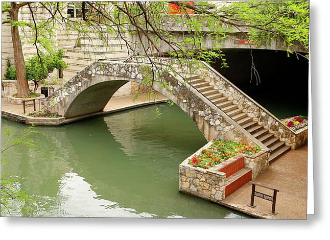 Greeting Card featuring the photograph Up And Over - San Antonio River Walk by Art Block Collections
