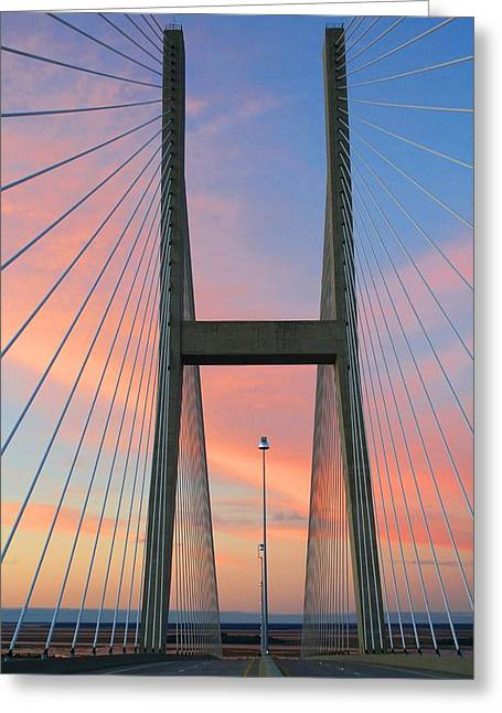 Up On The Bridge Greeting Card by Kathryn Meyer