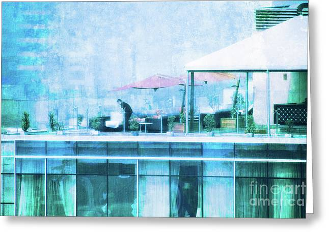 Greeting Card featuring the digital art Up On The Roof - II by Mary Machare