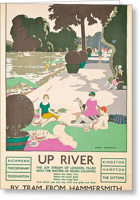 Up River Greeting Card by George Sheringham