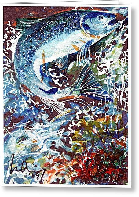 Salmon Paintings Greeting Cards - Up the Doon Greeting Card by Mike Shepley DA Edin
