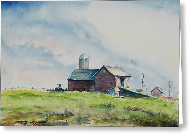 Indiana Springs Paintings Greeting Cards - Up the Hill Greeting Card by Mike Yazel