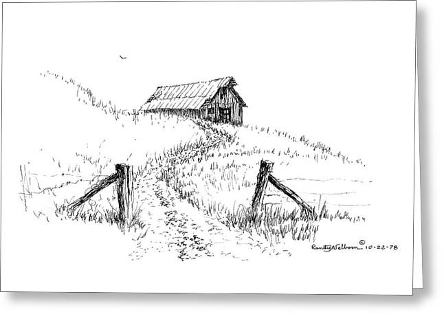 Up The Hill To The Old Barn Greeting Card