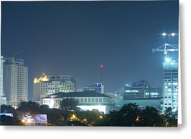 Tropical City Prints Greeting Cards - Up Town Cebu City Lights Greeting Card by James BO  Insogna
