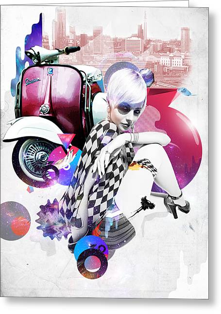 Up Town Top Scooter Girl Greeting Card by Eugene James