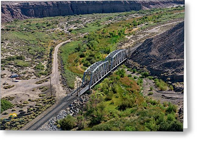 Greeting Card featuring the photograph Up Tracks Cross The Mojave River by Jim Thompson