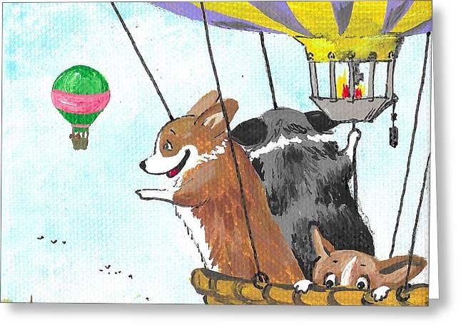 Up Up And Away Greeting Card by Margaryta Yermolayeva