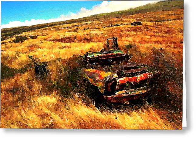Greeting Card featuring the digital art Upcountry Wreck by Kenneth Armand Johnson