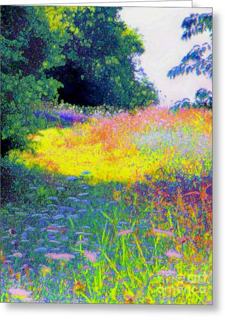 Uphill In The Meadow Greeting Card by Shirley Moravec