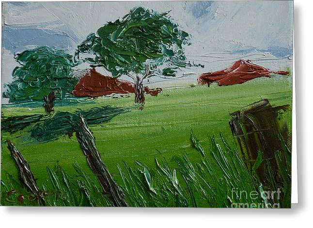 Greeting Card featuring the painting Upland Farm by Robert Coppen