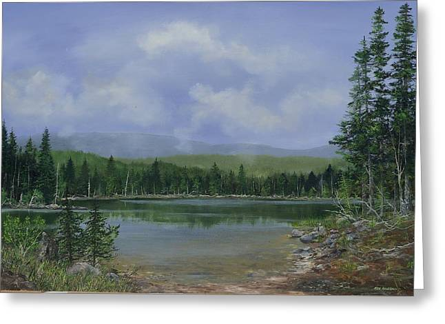 Greeting Card featuring the painting Upland Lake by Ken Ahlering
