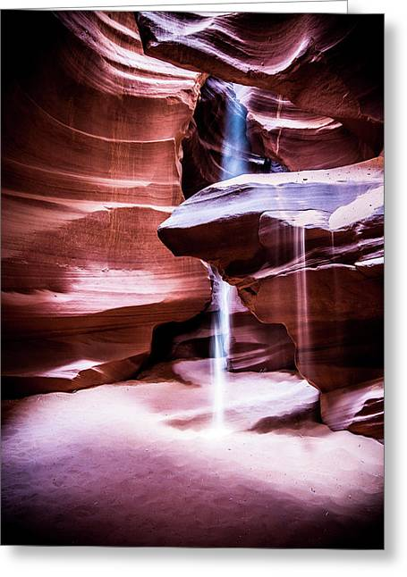 Greeting Card featuring the photograph upper antelope Canyon by Norman Hall
