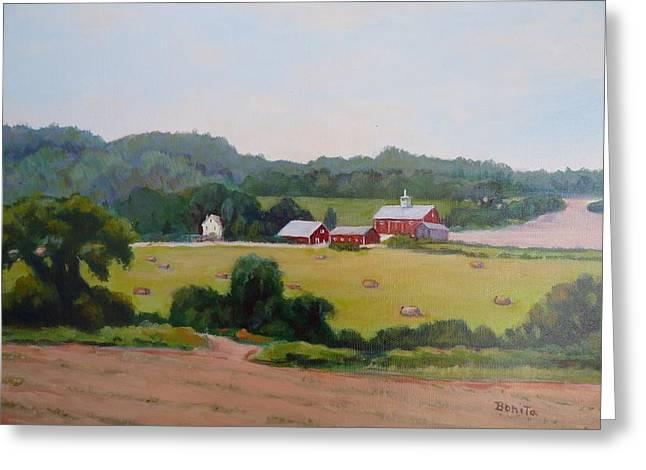 Upper Bucks County Farm Greeting Card by Bonita Waitl