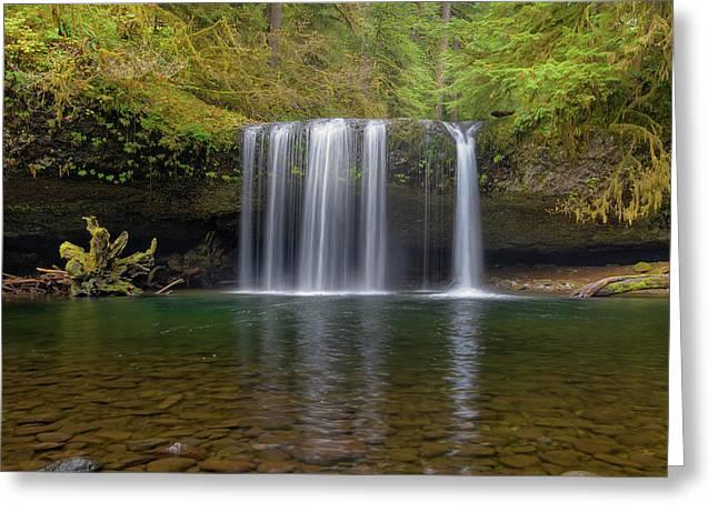 Upper Butte Creek Falls In Fall Season Greeting Card by David Gn