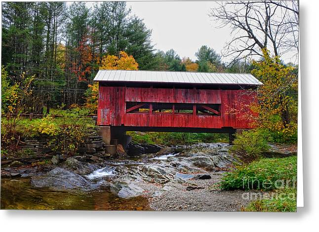 Upper Cox Brook Covered Bridge In Northfield Vermont Greeting Card